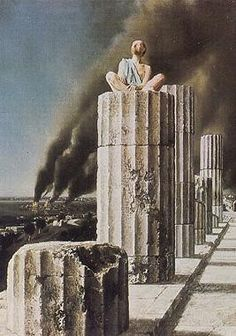 """Albert Carel Willink March 1900 – 19 October was a well known Dutch painter who called his style of Magic realism """"imaginary realism"""". I saw this inspiring painting in the early May be the source of my own pic, Greek columns and women I painted in Modern Art, Contemporary Art, Rene Magritte, Magic Realism, The Uncanny, Dutch Painters, Jaba, Pictures To Paint, Van Gogh"""