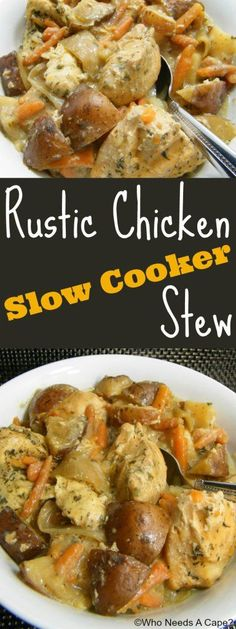 Rustic a chicken Slow Cooker Stew | Crockpot recipes make such an easy dinner on a busy weeknight. This chicken dish looks tasty! Canning, Slow Cooker Recipes, Meat, Chicken, March, Food, Eten, Hoods, Preserve
