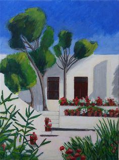 Klooster in Samos. 30x40 cm acrylic canvas Anthony van Gelder