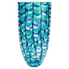 "Large Seguso Viro Murano Glass Limited Edition Blue and Green ""Grate"" Arrow Vase 