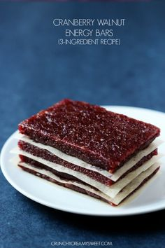 Cranberry Walnut Energy Bars (3 Ingredient Recipe)