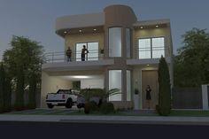 Planta de sobrado moderno pequeno House Floor Design, House Design Photos, House Floor Plans, Front Elevation Designs, House Elevation, Model Homes, Facade, Cottage, Mansions