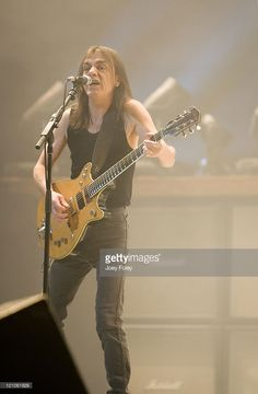 Guitarist Malcolm Young of the Australian rock band AC/DC performs in concert on their 'Black Ice World Tour' at the Conseco Fieldhouse on November 3, 2008 in Indianapolis.
