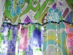 Boho gypsy door or window curtain made with scarfs! $90.00