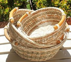 Round Wicker/Rattan Bread or Storage Baskets in Gray and Brown with Curve Pole Handles Storage Baskets, Gift Baskets, Basket Weaving, Hand Weaving, Round Basket, Wicker Baskets, Woven Baskets, Easter Baskets, Laundry Basket