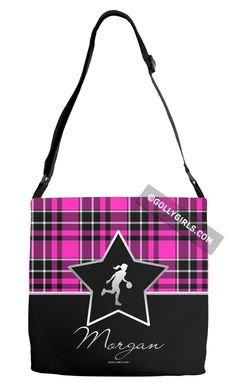 Golly Girls: Personalized Pink Plaid and Silver Star Basketball Shoulder Tote Bag only at gollygirls.com