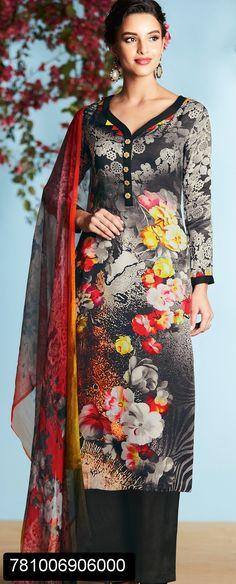 ideas flowers print kurti salwar suits for 2019 Simple Kurti Designs, Kurta Designs Women, Kurti Neck Designs, Blouse Designs, Suit Fashion, Fashion Outfits, Suits For Women, Clothes For Women, Neck Designs For Suits