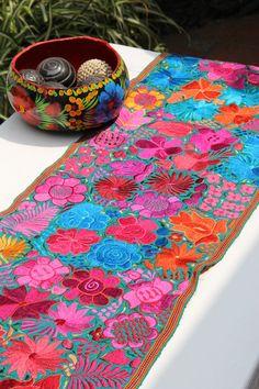 Chiapas bright and embroidered table runner