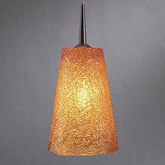 Bling II Bronze Mini Pendant with Amber Glass