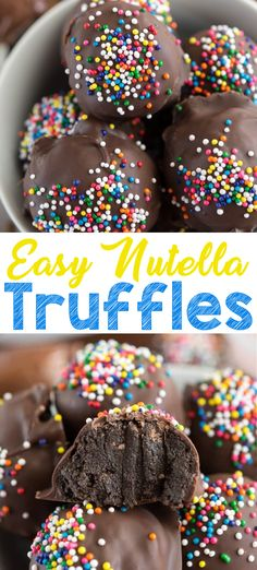 Nutella Truffles have only three ingredients! These Oreo truffles are made with Nutella instead of cream cheese and are the perfect candy recipe for anyone who loves Nutella or chocolate! This is a 3 ingredients easy truffle recipe! Nutella Fudge, Nutella Bread, Nutella Chocolate, Best Nutella Recipes, Chocolate Recipes, Köstliche Desserts, Delicious Desserts, Dessert Recipes, Recipes For Sweets