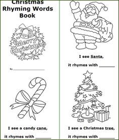 free printable Christmas bookss, rhyming words book, coloring book for kids