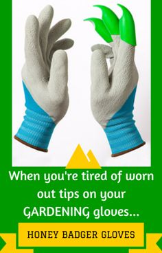 Garden Gloves from Honey Badger Gloves - longer lasting tips and customizable digging claws (right hand, left hand, or both)