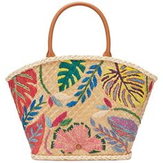 Tory Burch Leaf-Applique Straw Tote ($495) ❤ liked on Polyvore featuring bags, handbags, tote bags, accessories, beige, beige tote, colorful tote bags, straw purses, boho purse and tory burch purse