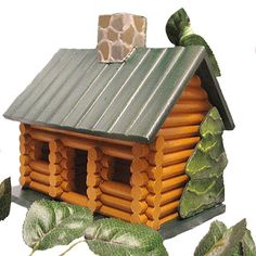 Hand Painted Log Cabin Birdhouse by PaintBrushedBoutique on Etsy, $49.00