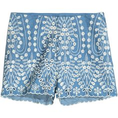 Embroidered Cotton Shorts $24.99 (455 MXN) ❤ liked on Polyvore featuring shorts, hot shorts, scallop hem shorts, high waisted short shorts, high rise shorts and hot pants