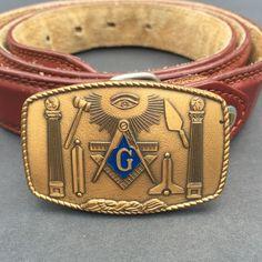 Freemason Masonic Belt Buckle 1981 Harry Klitzner Co. VTG Leather Belt Sz 38-40…