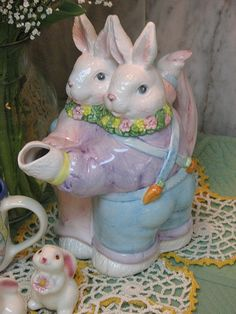 The Bunnies are taking a short break as they prepare for Easter and have come for tea! Bunny in tea pot style are dancing . Tea For One, My Tea, Tea Cup Saucer, Tea Cups, Cute Teapot, Teapots Unique, Cafetiere, Tea Pot Set, Teapots And Cups