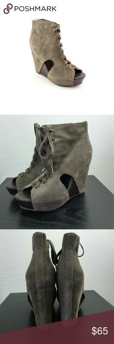 Lucky Brand Nellie Lace Up Boot -lace up  -suede bootie -approximately 5inch wedge heel  -size 40/10 -grey taupe suede -in excellent pre owned condition Lucky Brand Shoes Ankle Boots & Booties