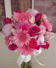 Find your perfect bouquet for your wedding day at Shannon's Custom Florals. Wedding Flowers Springfield MO, Branson, MO, Eureka Springs and the surrounding areas. Gerbera Bridal Bouquet, Prom Bouquet, Flower Girl Bouquet, Floral Bouquets, Wedding Bouquets, Fuschia Wedding Flowers, Romantic Wedding Colors, Prom Flowers, Daisy Centerpieces