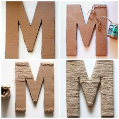 How to wrap cardboard letter with hot glue gun and twine or jute crafts crafts potter crafts glue gun crafts Twine Letters, Diy Letters, Letter A Crafts, Glue Gun Projects, Glue Gun Crafts, Craft Projects, Twine Crafts, Paper Crafts, Cardboard Crafts