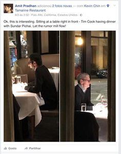 O CEO da Apple e da Google foram vistos a jantar na mesma mesa. Uma reunião? Qual terá sido o teor da conversa?