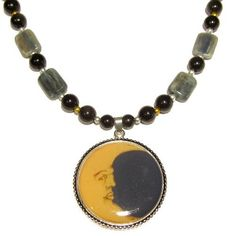 Kyanite Necklace 01 Beaded Blue Stone Black Obsidian Yellow Moon 22  Price : $80.00 http://www.idigcrystals.com/Kyanite-Necklace-Beaded-Obsidian-Yellow/dp/B00B4095E2
