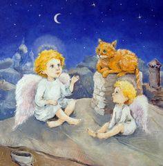 Ангелы и рыжий кот Ангел хранитель Картина в детскую комнату Картины для детей Авторская репродукция с моей подписью . Принт моей авторской картины