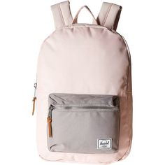 Herschel Supply Co. Settlement Medium (Cloud Pink/Ash) Backpack Bags ($48) ❤ liked on Polyvore featuring bags, backpacks, pink, pink backpack, pink laptop backpack, laptop rucksack, day pack backpack and real leather backpack