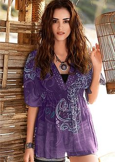 Facebook Share [Pin It]    Add to Wishlist    Purple Multi   Paisley Tunic   Combine the paisley you simply must have with the rich tone of a sheer tunic for standout style. VENUS