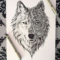 ink drawing of lion half in zentangle, half realistic - Google Search