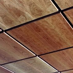 Ceiling panels for the lobby? Maybe we could find a stain to pull out in the marble accent. New World Wood Ceiling Tile and Wall Panels Image Gallery – Solid Wood and Real Wood Veneer Ceiling and Wall Systems – Architectural Surfaces, Inc Drop Ceiling Panels, Drop Ceiling Tiles, Dropped Ceiling, Plywood Ceiling, Wooden Ceilings, Metal Ceiling, False Ceiling Design, Ceiling Wood Design, Wood Veneer