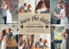 This kraft paper collage save the date card conveys its message in a fun and personalized way.