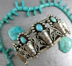 Details about FRILLY 57g Old Pawn SPECTACULAR SQUASH BLOSSOM Turquoise Cuff…