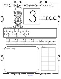 This is a set of St. Patricks Day themed activity pages reviewing some forms that numbers can take, for preschool pre-K and Kindergarten. The numbers being reviewed are from 1-20. Recognize, count, trace, draw, and fill in a 10-frame.