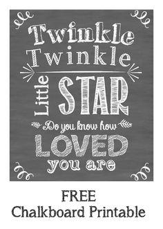 Free Twinkle Twinkle Little Star Chalkboard Printable