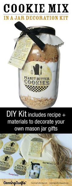 Cookie Mix in a Jar  |  DIY Kit includes materials to decorate 12 cookie mason jar gifts with a recipe card showing you how to pack them using your own ingredients & jars. Choose from 4 recipes: Candy Chip, Chocolate Chip, Peanut Butter, or Oatmeal cookie
