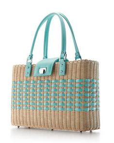 """@bcliving magazine shares 6 must-have summer totes, featuring the Tiffany Palmer Basket. """"The Tiffany Palmer Basket is an open tote made of Italian wicker, and features a smooth calf trim in Tiffany Blue® and palladium-plated solid brass hardware. The leather lining is also in Tiffany Blue and includes two interior pockets and a zipper compartment to keep all your summertime essentials organized [...] This breezy, light wicker tote is a model of both functionality and fashion."""""""