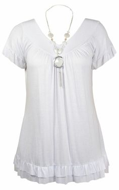 19b38d64445 Womens Gypsy Frill Necklace Swing Tunic Tops Ladies V Neck T-Shirt UK Plus  Size