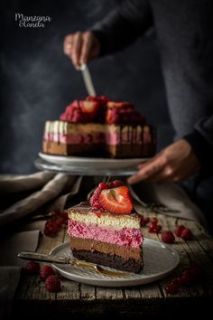 Triple mousse cake // chocolate, raspberry and vanilla layered mousse with brownie base Jello Recipes, Cheesecake Recipes, Dessert Recipes, Just Desserts, Delicious Desserts, Chocolate Mocha Cake, Chocolate Cupcakes, Nougat Recipe, Mousse Cake