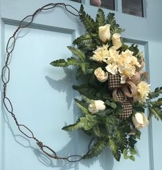 Farmhouse Rustic Country Sunflower Floral Fall Old Wire hoop Wreath for Door x Made by Designs by Debby Ohio. Keep checking back, I add new wreaths daily! Diy Wreath, Grapevine Wreath, Fabric Wreath, Primitive Wreath, Primitive Country, Hydrangea, Summer Wreath, Spring Wreaths, Country Wreaths