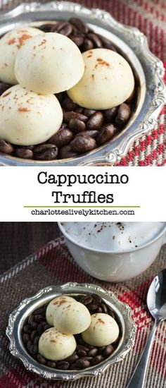 Cappuccino truffles - A soft milk chocolate and coffee ganache centre, coated in white chocolate and sprinkled with a little cocoa powder.