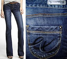 Express Jeans Stella Boot Regular Fit Low Rise Embroidered Back Pockets 4 *NICE* #Express #BootCut