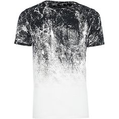 White faded glitch print muscle fit T-shirt - print t-shirts - t-shirts / vests - men