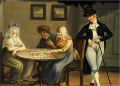 'De waarzegster', geschilderd door Frans Willem Swart, circa 1805-1810. Gemeentemuseum het Hannemahuis, bruikleen Fries Museum. De vrouw links draagt een floddermuts, met een flodder tot op haar schouders. De man rechts is gekleed volgens de laatste mode rond 1802.