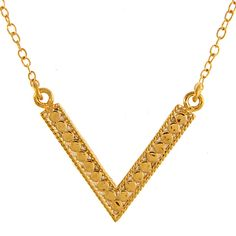 Anna Beck V Necklace in 18K Plated Gold and Sterling Silver