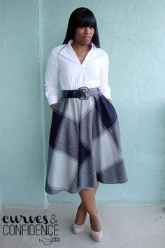 Work Wear Staple: The Midi Skirt | Curvy Outfit Ideas | Petite Outfit Ideas | Plus Size Fashion | Fall Fashion | OOTD | Professional Casual Chic Fashion and Style Inspiration