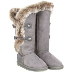 Australia Luxe Grey Suede Nordic Angel Tall Boots ($370) ❤ liked on Polyvore featuring shoes, boots, ugg, botas, suede thigh-high boots, tall suede boots, grey knee high boots, tall gray boots and thigh-high boots