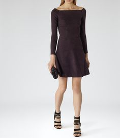Womens Berry Jacquard Fit And Flare Dress - Reiss Tinsel