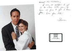 """Warren Jeffs and his 16-year-old 17th """"wife"""" Sheena Roundy. Here, she has written him a note: """"Dearest, I am so grateful I get to be here with you. It's been so fine to get to know you. Lots of love, Sheena"""". I don't know whether to cry or vomit."""