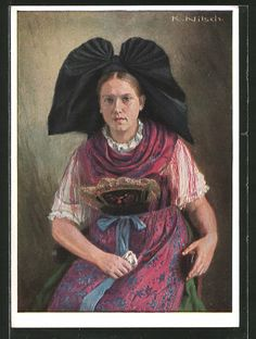 Elsässische Frau in Volkstracht Alsace, European Costumes, Alsatian, Joan Of Arc, Folk Costume, Burger, Vintage Postcards, Folklore, Traditional Outfits